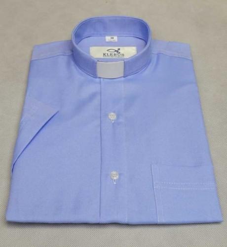 2d298b20e Koszula kapłańska taliowana, niebieska SLIM 3