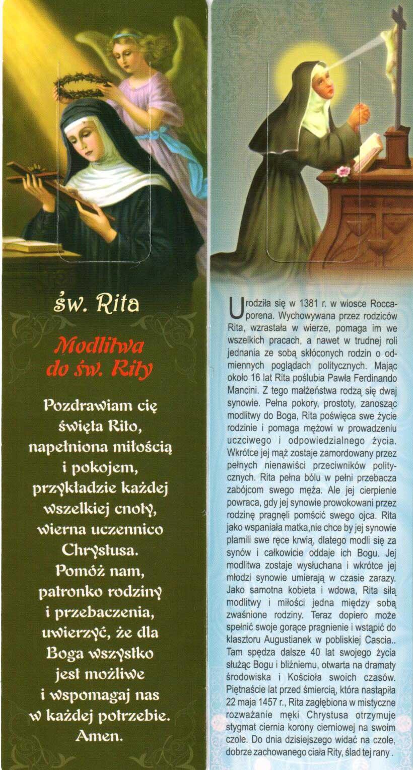 Modlitwy Do św Rity Zakładka Do Książki