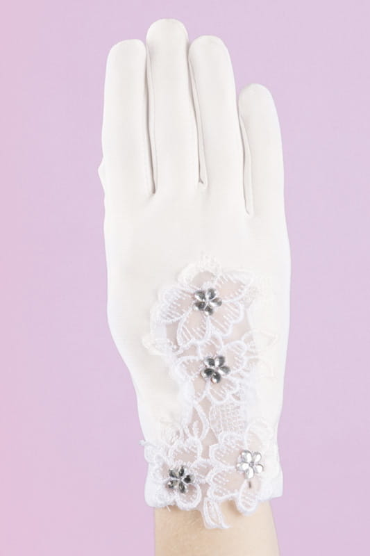 e846341c7b Komunijne rękawiczki dla dziewczynki z koronką K-29